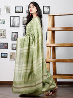 Pistachio Green Ivory Chanderi Silk Hand Block Printed Saree With Geecha Border - S031702935