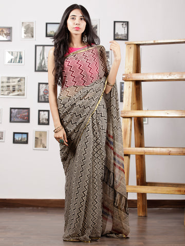 Ivory Black Hand Block Printed Chiffon Saree with Zari Border - S031702962