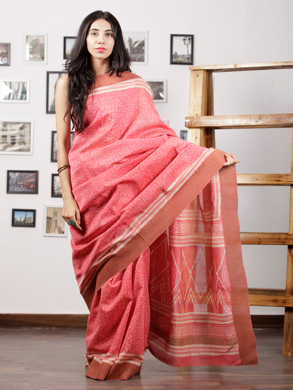 Punch Pink Ivory Chanderi Silk Hand Block Printed Saree With Geecha Border - S031702964
