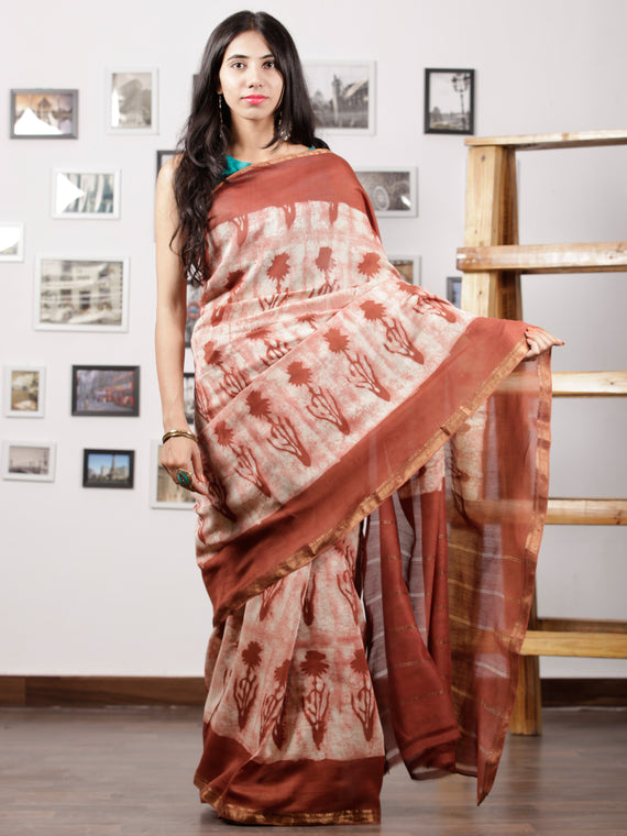 Rosewood Pink Ivory Hand Brushed Dabu & Hand Block Printed Maheshwari Silk Saree With Zari Border - S031702966