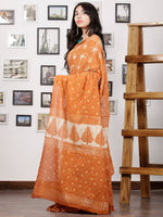 Mustard White Hand Block Printed Cotton Mul Saree - S031702973