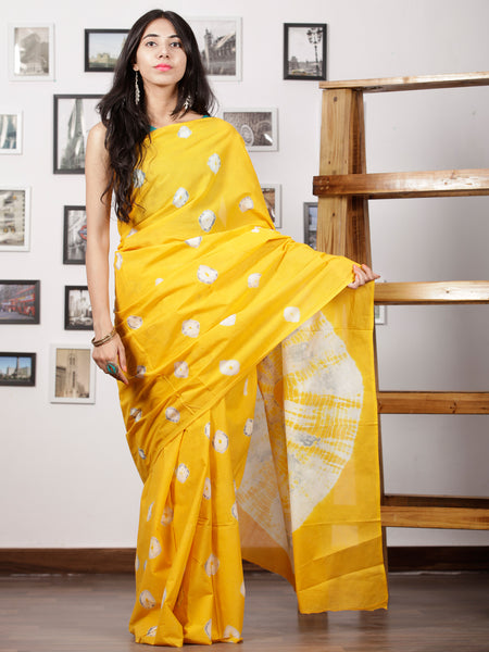 Bright Yellow White Grey Hand Shibori Dyed Saree Cotton Mul Saree - S031702975