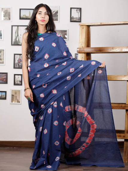 Indigo Pink White Hand Shibori Dyed Saree Cotton Mul Saree - S031702976