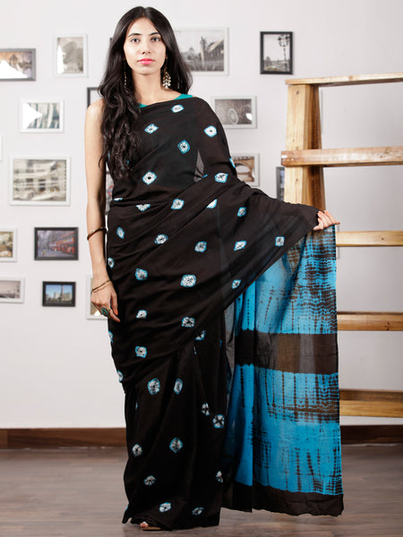 Black Sky Blue White Hand Shibori Dyed Saree Cotton Mul Saree - S031702978