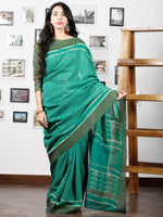 Green White Chanderi Silk Hand Block Printed Saree With Geecha Border - S031702937