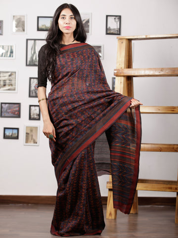 Indigo Purple Black Maheshwari Silk Hand Block Printed Saree With Zari Border - S031702994