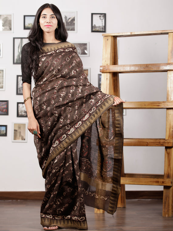 Brown Maroon Ivory Chanderi Silk Hand Block Printed Saree With Geecha Border - S031702982