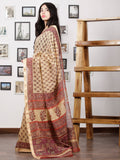 Ivory Onion Pink Rust Maheshwari Silk Hand Block Printed Saree With Zari Border - S031702983