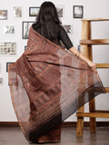 Brown Maroon Balck Maheshwari Silk Hand Block Printed Saree With Zari Border - S031702986