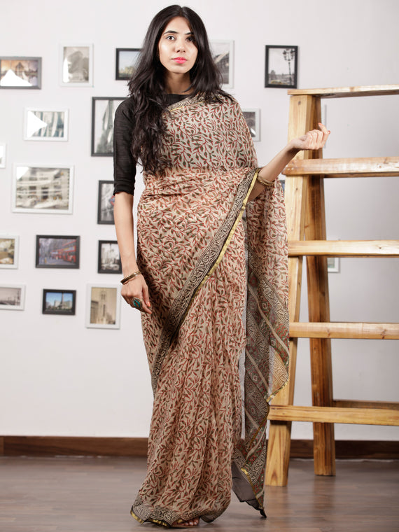 Ivory Black Red Green Hand Block Printed Chiffon Saree with Zari Border - S031702989