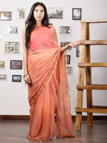 Peach Blue Balck Hand Block Printed Chiffon Saree with Zari Border - S031702990