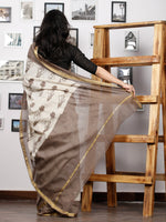Kashish Ivory Maheshwari Silk Hand Block Printed Saree With Zari Border - S031702991