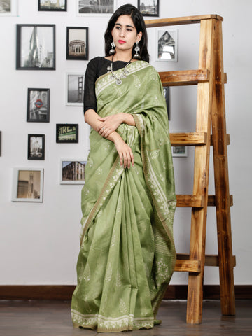 Pistacho Green Ivory Chanderi Silk Hand Block Printed Saree With Geecha Border - S031702993
