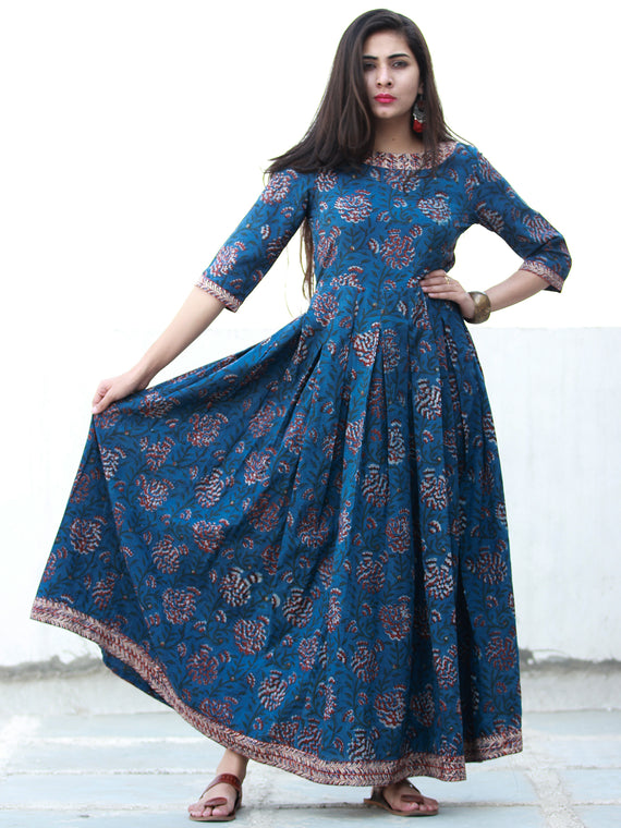 Indigo Classic - Hand Block Printed Long Cotton Dress - D372F1341
