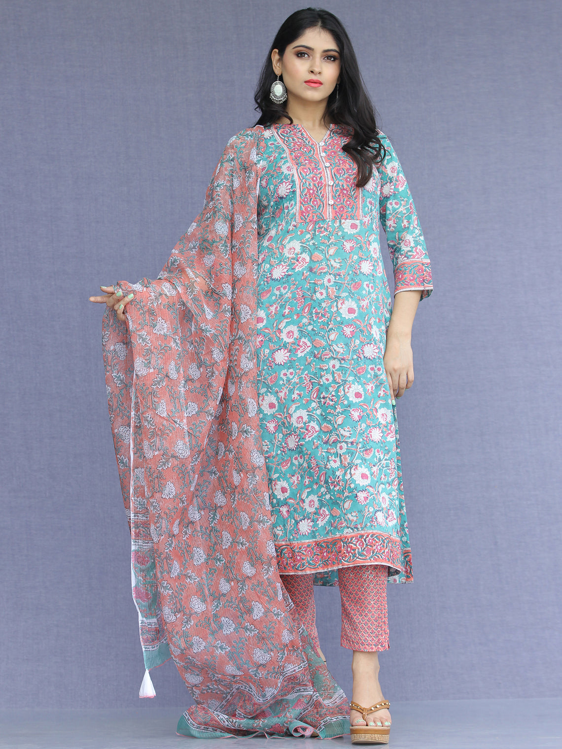 Jashn Gulnur - Set of Kurta Pants & Dupatta - KS60B2276D
