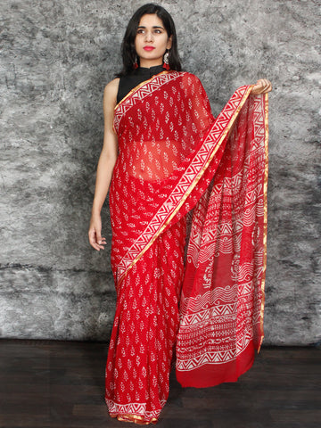 Red White Hand Block Printed Chiffon Saree with Zari Border - S031703115
