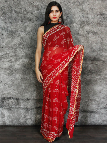 Red White Hand Block Printed Chiffon Saree with Zari Border - S031703116
