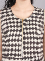 Hand Block Printed Zip And Flared Sleeveless and trendy  Cotton Dress