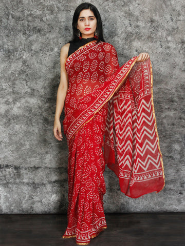 Red White Hand Block Printed Chiffon Saree with Zari Border - S031703117