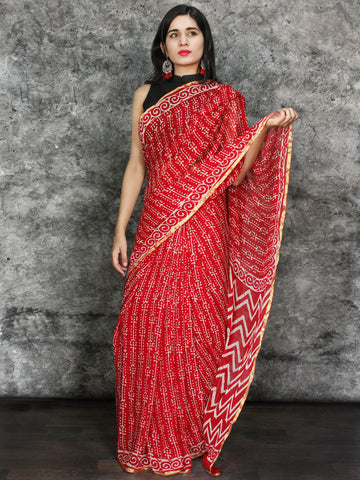 Red White Hand Block Printed Chiffon Saree with Zari Border - S031703118