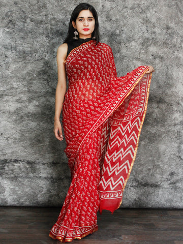 Red White Hand Block Printed Chiffon Saree with Zari Border - S031703119