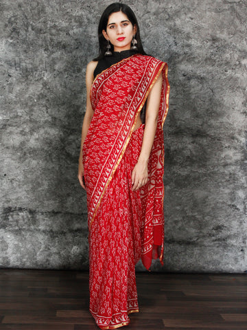 Red White Hand Block Printed Chiffon Saree with Zari Border - S031703120