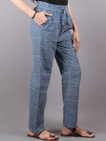 Indigo Hand Block Printed Elasticated Waist Trousers- T0317029