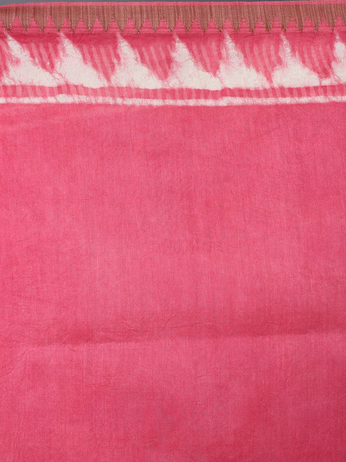 Pastel Pink Beige White Hand Block Printed in Natural Vegetable Colors Chanderi Saree With Geecha Border - S03170386