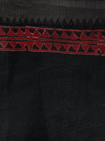 Black Grey Red Hand Block Printed in Natural Vegetable Colors Chanderi Saree With Geecha Border - S03170388