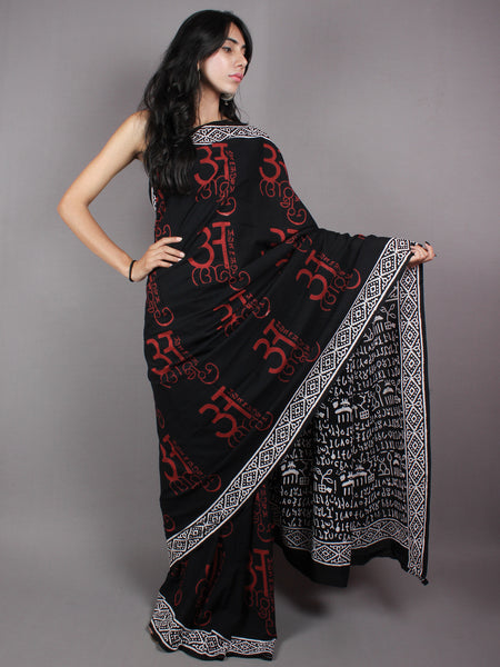 Black Red Cotton Hand Block Printed Saree - S03170368