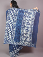 Indigo Cotton Hand Block Printed Saree in Natural Colors - S03170252