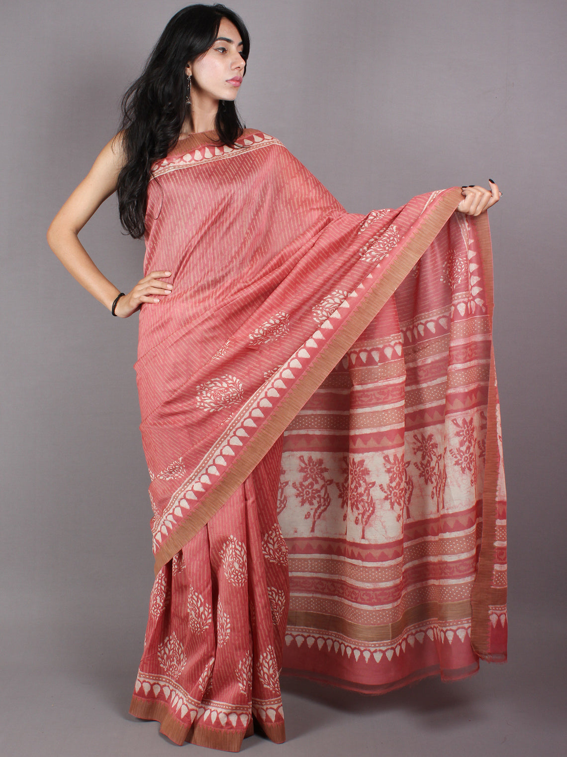 Pastel Peach Beige White Hand Block Printed in Natural Vegetable Colors Chanderi Saree With Geecha Border - S03170371