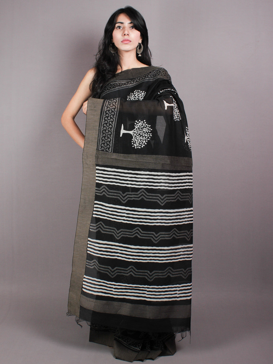 Black White Hand Block Printed in Natural Vegetable Colors Chanderi Saree With Geecha Border - S03170374