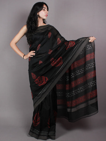 Black Red Hand Block Printed in Natural Vegetable Colors Chanderi Saree With Geecha Border - S03170375