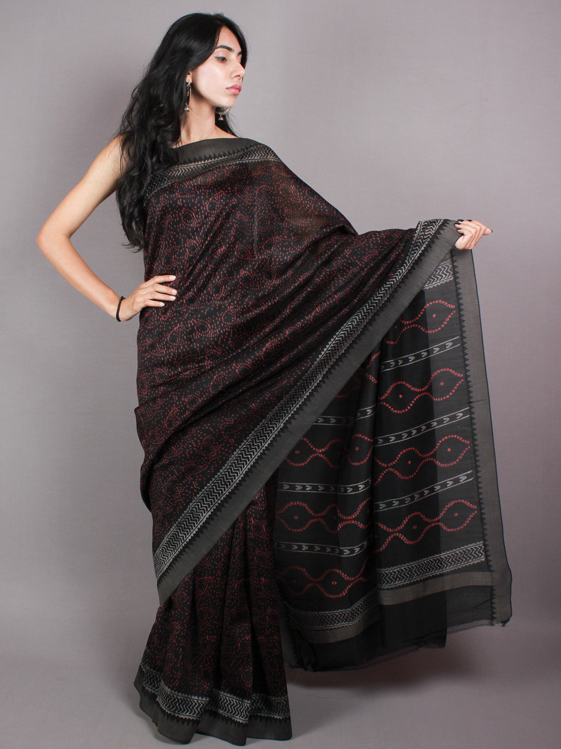Black Red Hand Block Printed in Natural Vegetable Colors Chanderi Saree With Geecha Border - S03170380