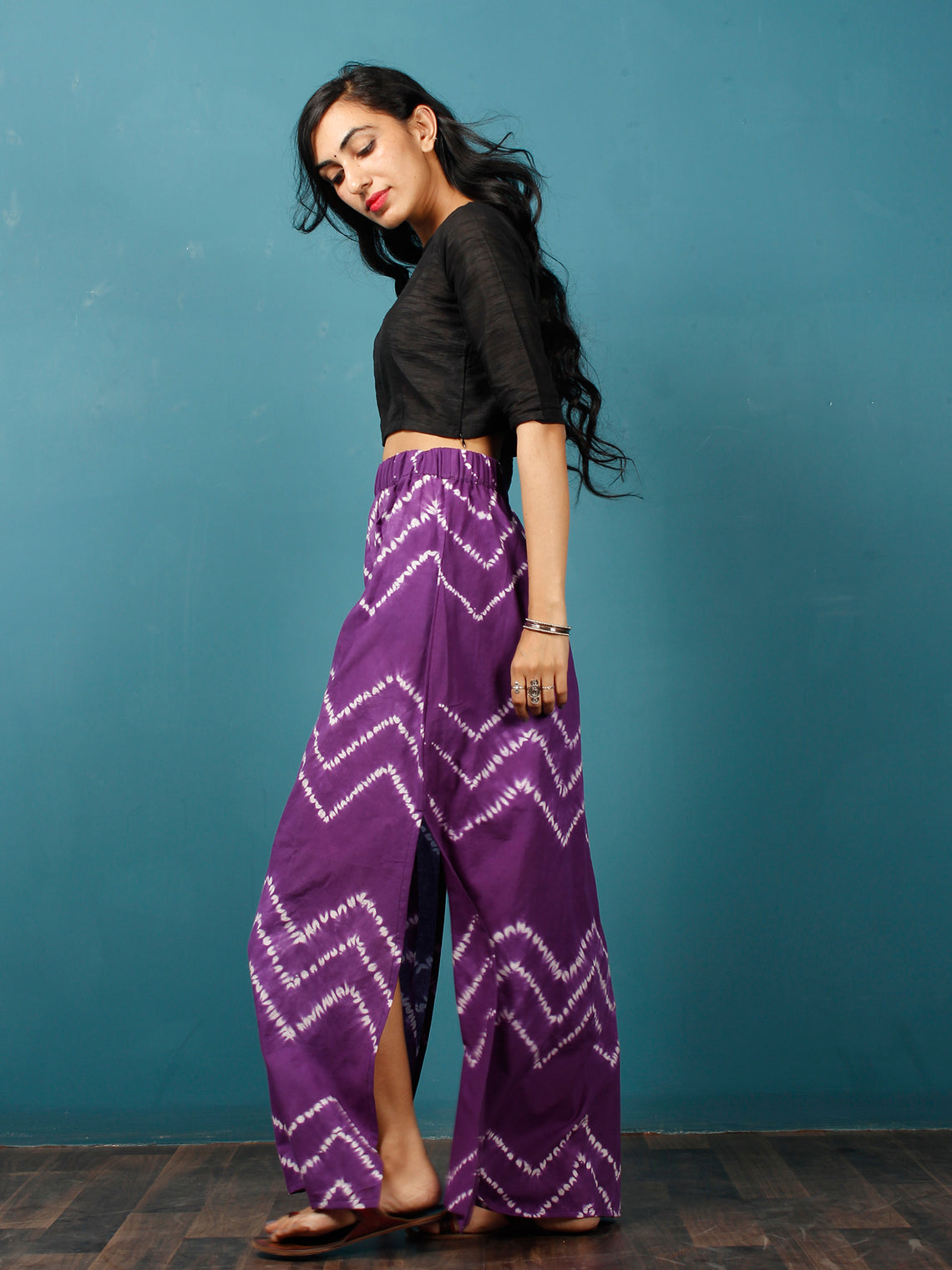 Purple White Shibori Hand Block Printed Straight Skirt With Side Slits - S40F287