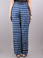 Indigo Hand Block Printed Elasticated Waist Trousers- T0317030