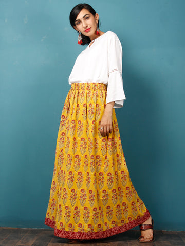 Yellow Red Maroon Black Hand Block Printed Skirt  - S40F623