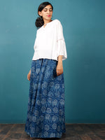 Indigo White Hand Block Printed Skirt  - S40F355