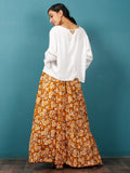 Peanut Brown Yellow White Hand Block Printed Skirt  - S40F342