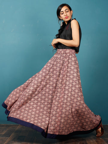 Plum Black Light Peach  Hand Block Printed Skirt With Navy Blue Border - S40F685