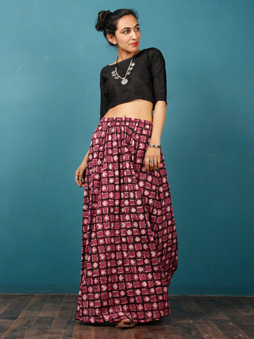 Pink Beige Black Hand Block Printed Skirt  - S40F377
