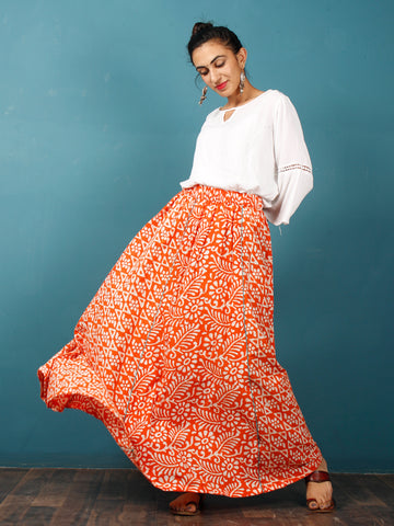 Orange White Teal Green Hand Block Printed Kali Skirt  - S40F340