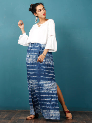 Indigo White Shibori Hand Block Printed Straight Skirt With Side Slits - S40F293