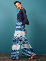 Indigo White Shibori Hand Block Printed Straight Skirt With Side Slits - S40F295