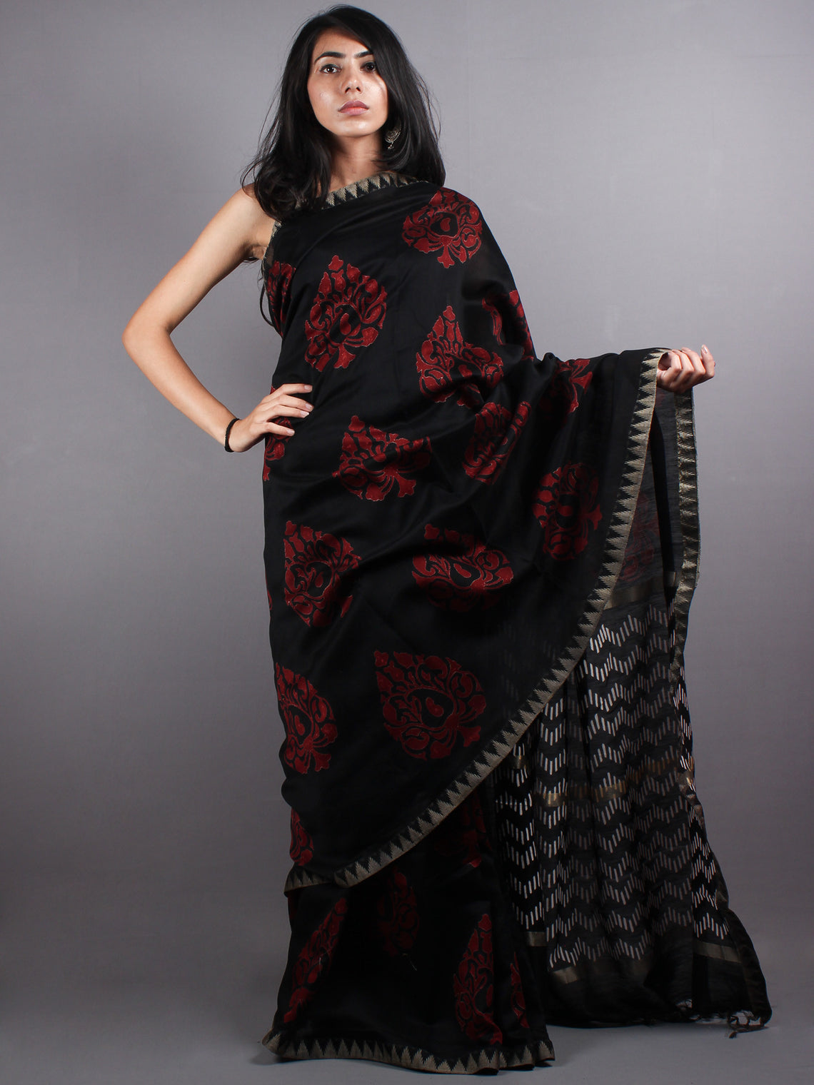 Black Red Chanderi  Hand Block Printed Saree With Geecha Border - S0317059