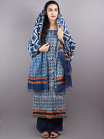 Indigo White Hand Block Printed Chanderi Unstitched Kurta & Chanderi Dupatta With Cotton Salwar - S1628003