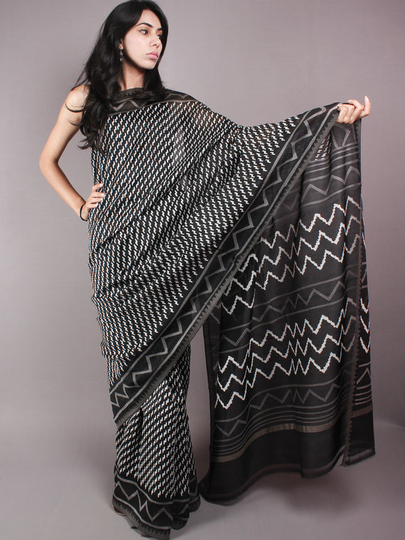 Black White Hand Block Printed in Natural Vegetable Colors Chanderi Saree With Geecha Border - S03170311