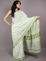 White Mint Green Cotton Hand Block Bagru Printed Saree - S03170346