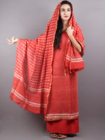 Red White Hand Block Printed Chanderi Unstitched Kurta & Chanderi Dupatta With Cotton Salwar - S1628004